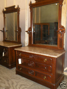 Vintage Home Pair Of Antique Marble Top Victorian Bedroom Dressers