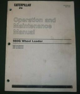 Cat Caterpillar 980g Wheel Loader Operation Maintenance Book Manual 9cm 2kr 2sr