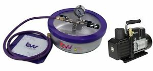 Bvv 1 Gallon Flat Stainless Steel Vacuum Chamber Ve115 3cfm 1 stage Pump Kit