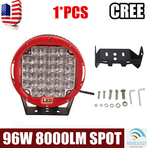 9inch 96w Offroad Led Driving Light Pods Suv 4x4 Bumper Fog Spot Lamp Round Red