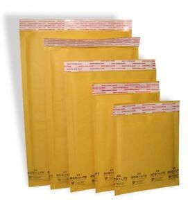 Ecolite 0 00 000 1 2 3 4 5 6 7 Kraft Bubble Mailers Envelopes Bags
