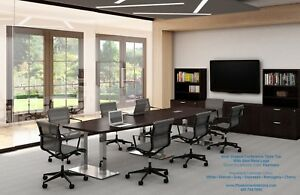 14 Foot Modern Conference Table With Grommets And Steel Metal Legs In 6 Colors