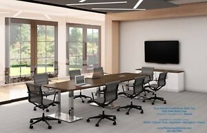 16 Foot Modern Conference Table With Grommets And Steel Metal Legs In 6 Colors