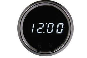 2 1 16 Universal Automotive Digital Clock White Led Gauge With Chrome Bezel