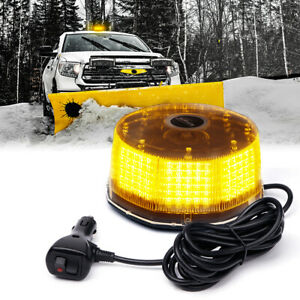 Amber 240 Led Vehicle Rooftop Round Rotating Beacon Magnetic Mount Strobe Light