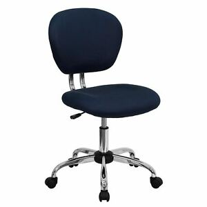 Rigmos Armless Navy Mesh Swivel Adjustable Office Chair With Chrome Base