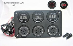 Three 12v Battery Bank Voltmeter Monitor Measures Low Charge State
