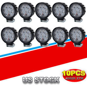 10pcs 4 inch 27w Round Pods Led Work Light Driving Fog Lights Lamp Off Road