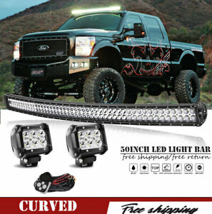 50 Curved Led Light Bar 2x18w 4 Fog Light For Jeep Grand Cherokee Wj Roof 99 04