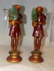 Vintage Petites Choses Pair Monkeys Clothed W Palm Leaf Fans Bud Vases Rare