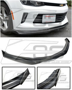 For 16 Up Camaro Rs Eos T6 Style Carbon Fiber Front Bumper Lip W Side End Caps