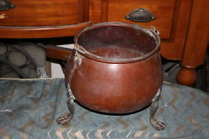 Antique Primitive Middle Eastern Arabic Copper Metal Footed Cauldron W Handle
