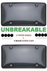 2x Bubble Tinted Smoke License Plate Tag Frame Cover Shield Car Truck