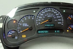 Blue Led 2005 Gmc Yukon Silverado Hd Gas Reman Instrument Cluster 0 Mi 50 Back
