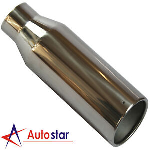 Stainless Steel Weld On Exhaust Tip Rolled Edge 2 5 Inlet 4 Outlet 12 Long