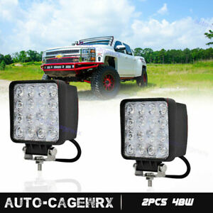 Pair 48w 4inch Cree Led Work Light Flood Beam Tractor Truck Trailer Driving Lamp