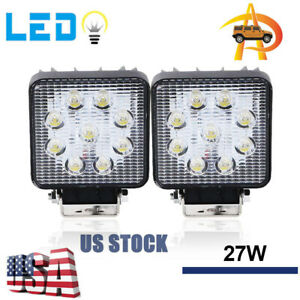 2pcs Led 27w 12v 24v Work Light Spot Light Off Road Atv Suv Car Boat Jeep Truck