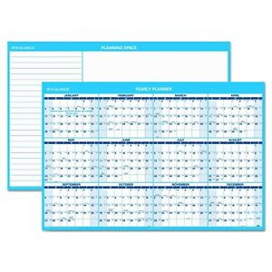 At a glance Horizontal Erasable Wall Planner 48 X 32 Blue white 2018