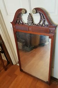 1950 S Mahogany And Brass Hanging Mirror We Will Ship