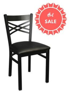 Restaurant Metal Chairs And Barstool With Cross Back quick Ship