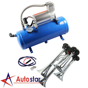 Air Compressor 6 Liter Air Tank With 4 Trumpet Air Horn Car Train Truck Boat