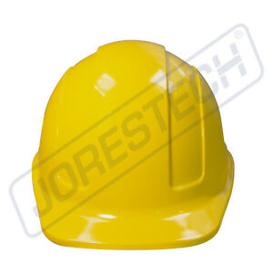 Yellow Hard Hat Jorestech Adjustable Ratchet Suspension Safety Cap Style