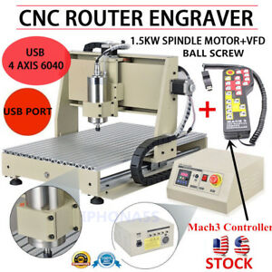 Usb 4axis 1500w 6040 Cnc Router Metal Engraver Engraving Mill mach3 Controller