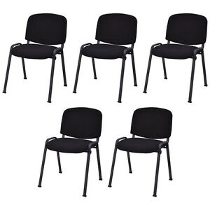 5pcs set Conference Home Office Waiting Room Guest Reception Chairs Black Us