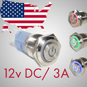 12v 16mm Red Led Metal Push Button Switch Ip67 Waterproof For Auto Or Marine