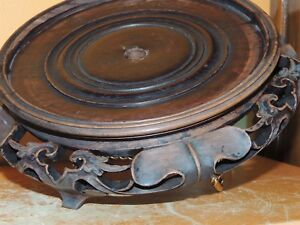 Antique Wood Wooden 6 7 75 Base Carved Chinese Stand Lamp Vase Pot Late Qing