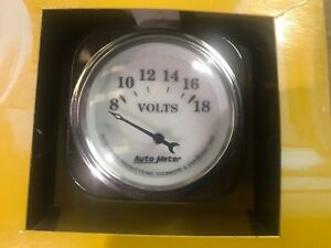New Auto Meter 1292 Volt Meter 2 1 16 Electric Gauge Old Time White Ii