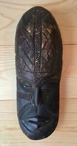 Vintage Large Primitive African Hand Carved Wood Tribal Mask Art Home Decor