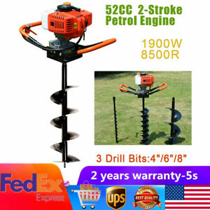 52cc Auger Post Hole Digger Gas Powered Borer Fence Ground Drill 4 6 8 Bits