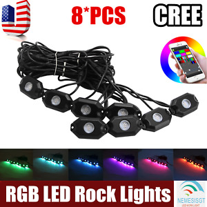 8x Led Rock Light Pod Aluminum Wireless Bluetooth Rgb Color Under Car Jeep Rzr
