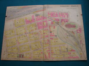 Antique Map Of Syracuse Ny 1908 Nyc R R Hudson Rr Armory Square Pl 8