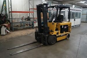Cat Caterpillar M80d 8 000 Lbs Electric Forklift Hilow W Fork Positioner