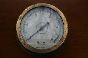 Vintage Antique Crosby Pressure Gauge Gage Industrial Steampunk 7 1 2 Brass