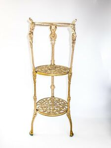 Ornate 3 Tier Brass Table Plant Stand Nightstand Art Nouveau Hollywood Regency