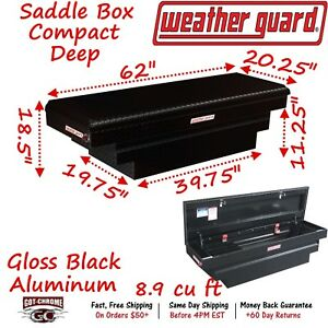 137 5 01 Weather Guard Black Aluminum Saddle Box 62 Deep Truck Toolbox