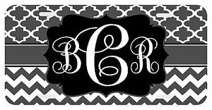 Personalized Monogrammed License Plate Auto Car Tag Clover Pattern Chevron Gray