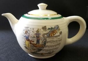 Antique Limoges Rare Pv Parry Vieille French Opera Guillaume William Tell Teapot