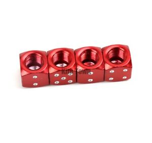 4 Chrome Red Dice Tire Wheel Stem Air Valve Caps Covers Car Truck Hot Rod