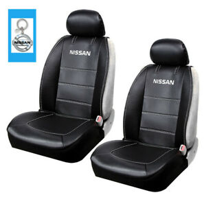Nissan Logo Synthetic Leather Sideless Car Truck Front Seat Covers Keychain Set
