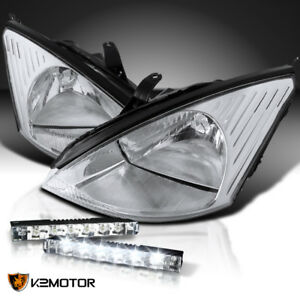 2000 2004 Ford Focus Euro Chrome Crystal Headlights 6 led Bumper Lamps