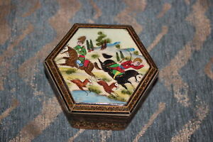 Antique Persian Middle Eastern Miniature Wood Trinket Box Painted Hunting Scene