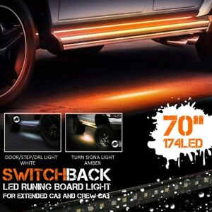 2pc 70 120smd Led Amber White Switchback Strip Car Truck Suv Step Signal Light