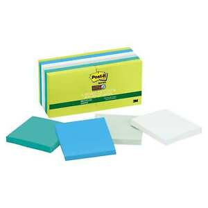 Post it Notes Super Sticky Recycled Notes In Bora Bora Colors 3 X 3 90 sheet