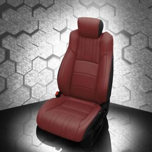 Katzkin Black Med Red Leather Int Seat Cvrs Fits 2018 2019 Honda Accord Sedan Lx