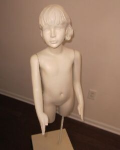 Girl Torso Mannequin Child Half Body Store Display On Stand Adjustable Arms