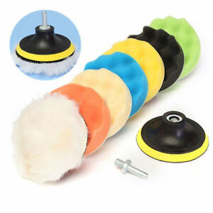 9x Car Sponge Waxing Buffer Waffle Buffing Pads Foam 6 7 Polishing Drill Set